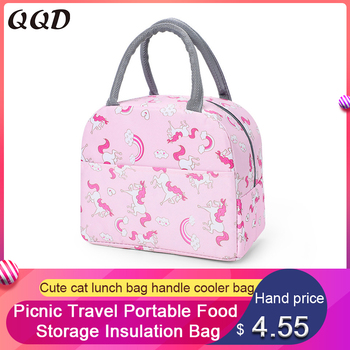 QQD cute cat lunch bags handle insulation cooler bag picnic travel portable food storage breakfast student thermal unicorn - discount item  29% OFF Special Purpose Bags