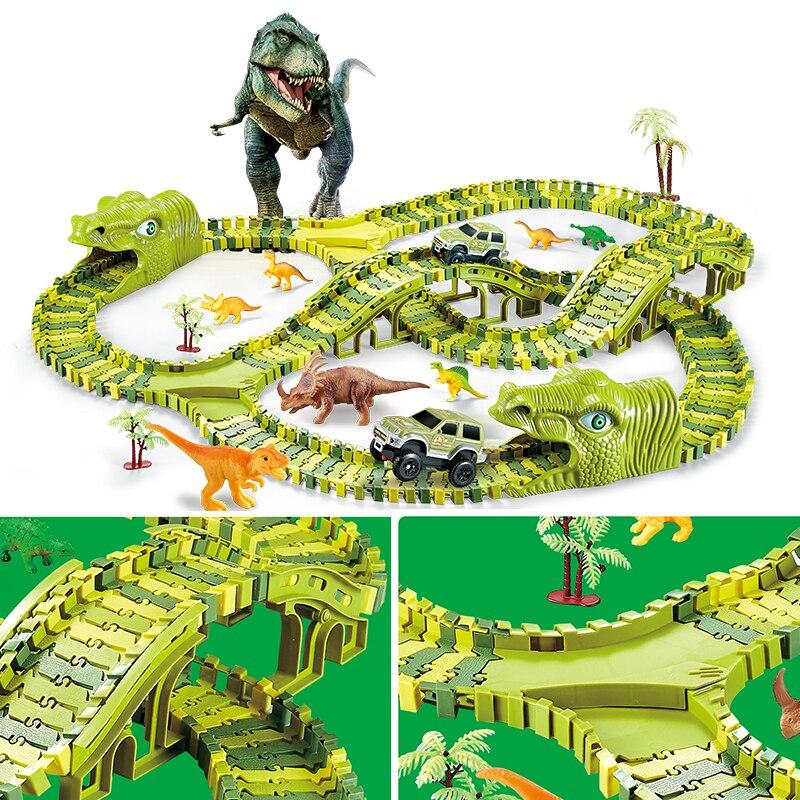 Лидер продаж, железная дорога, волшебный трек, игрушечный динозавр, трек, гибкий гоночный автомобиль с ковриком динозавра, модель автомобиля, детские игрушки для рождественского подарка