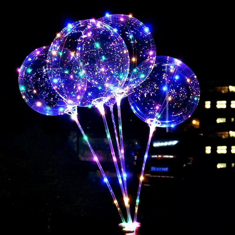Reusable Luminous LED Balloon Transparent Round Bubble Birthday Party Wedding Decoration LED Bubble Balloon  Kids Toy