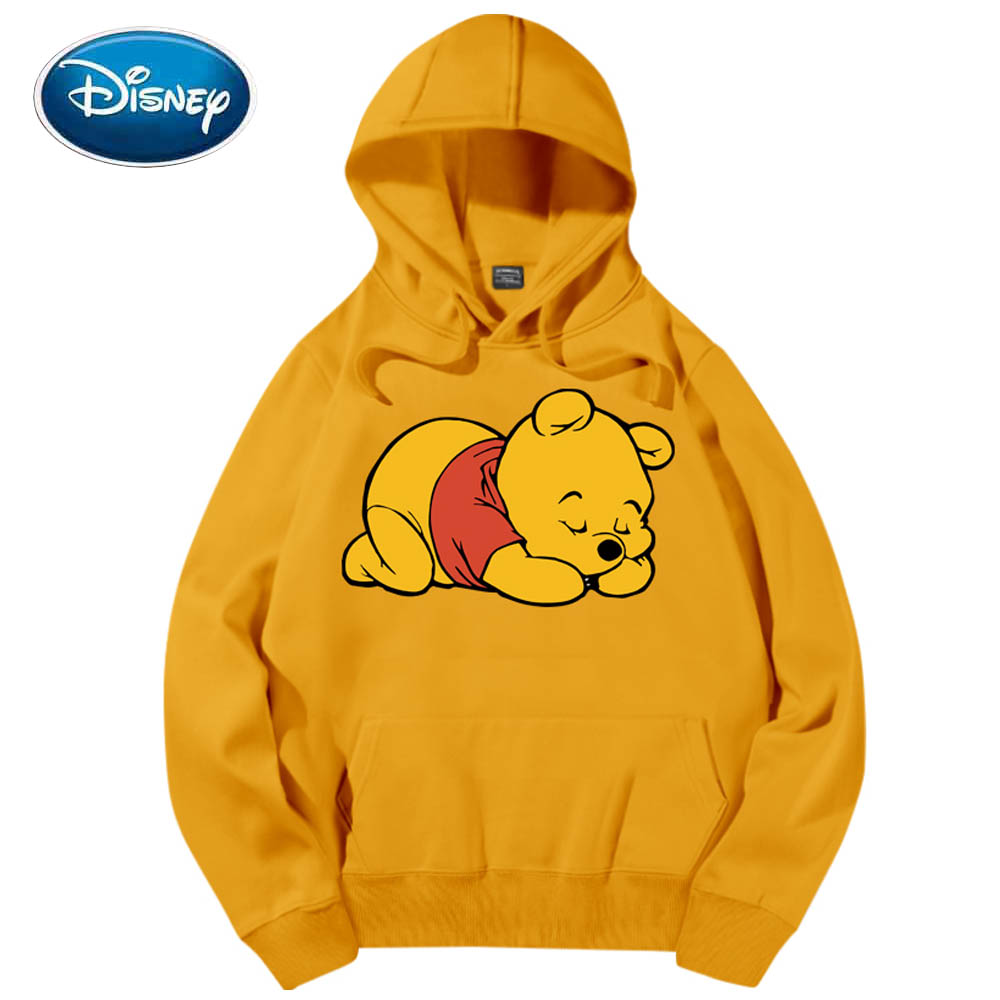 Disney Chic Fashion Cute Winnie The Pooh Bear Cartoon Print Hoodie Pullover Couples Unisex Women Sweatshirt Pocket Tops 6 Colors