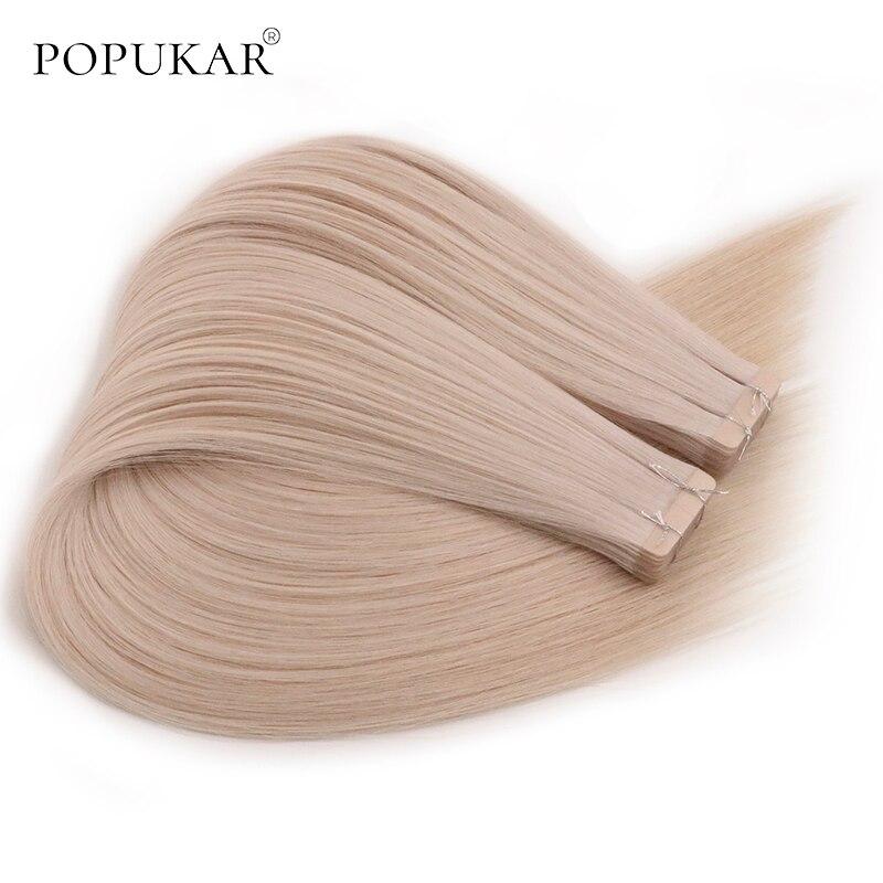 Popukar Best Quality Tape Human Hair Extensions 100g 40pcs Peruvian Human Hair Blonde For White Women