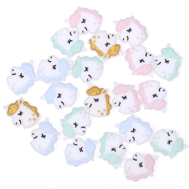 Chenkai 50PCS Silicone Unicorn Beads DIY Baby Koala Animal Cat Flamingo Pacifier Dummy Sensory Jewelry Gift Toy Accessories