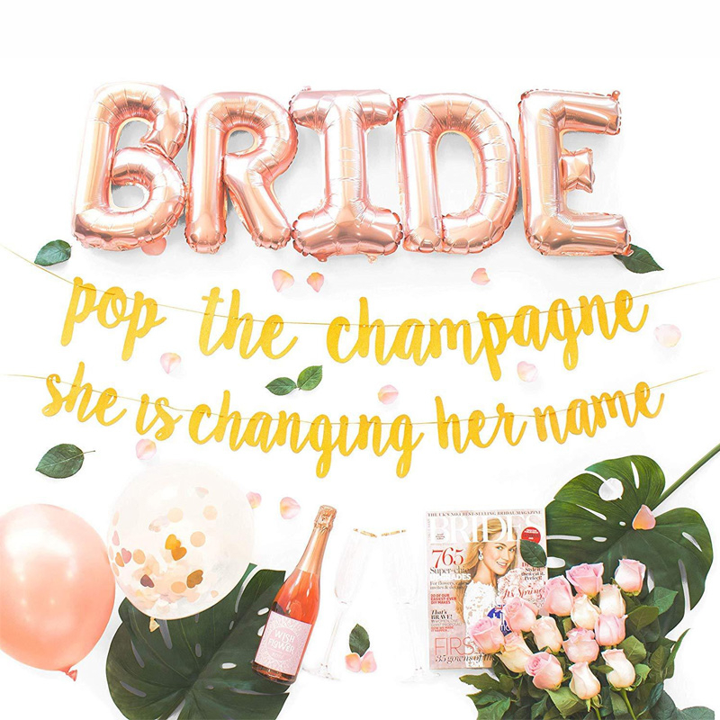 1 Set Bachelor Party Decoration Kit Glitter Banner Foil Letter Ring Champagne Ballon Rose Gold Confetti Balloon For Bride To Be