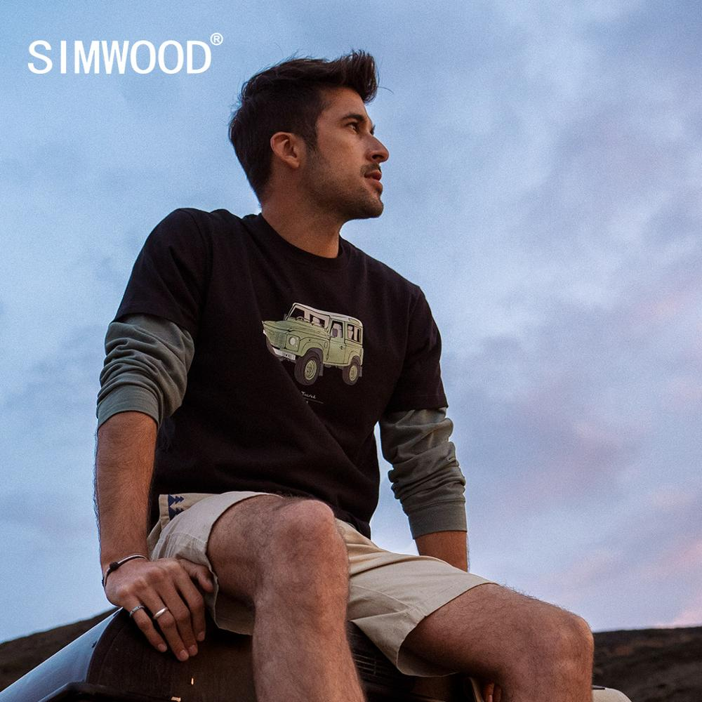 SIMWOOD 2020 Spring Summer New Jeep Print T-shirt Men 100% Cotton Letter Back Short Sleeve T Shirt Plus Size Top Tees SI980799