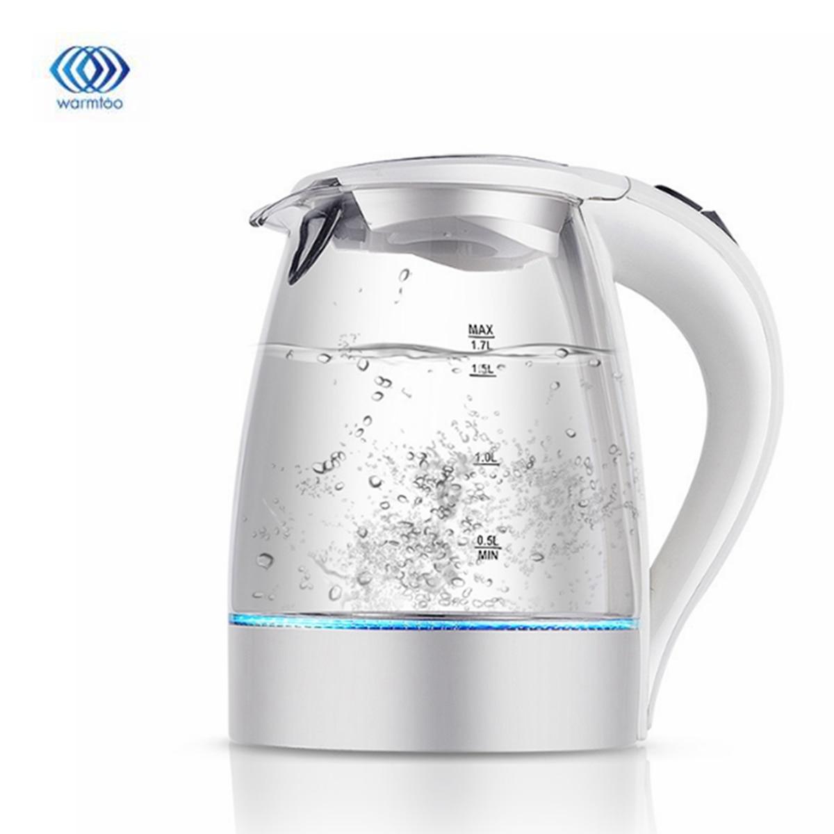 1.7L 2200W LED aydınlatmalı cam su ısıtıcısı elektrikli hızlı kaynatın kablosuz elektrikli su ısıtıcı elektrikli su ısıtıcısı çaydanlık akıllı su ısıtıcısı mutfak