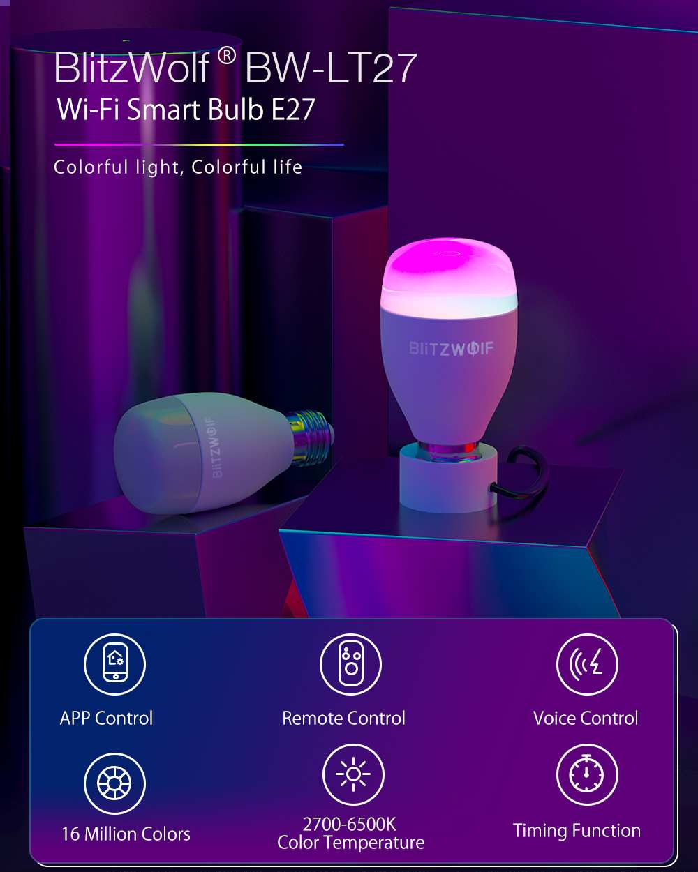 Blitzwolf wifi lâmpada led AC100-240V rgb +