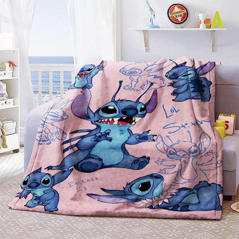 Throw Blanket Cartoon Lilo & Stitch 3D Flannel Fleece Blankets Throw Flatsheet Kids Adults Unisex Bedspread Sleeping Cover