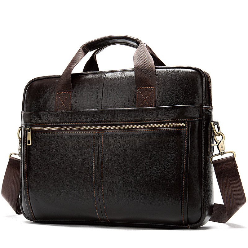 2019 New Vintage Classic Men Laptop Briefcase Natural Cowhide Leather Shoulder Bags For Men Briefcase Bag Men Travel Bag