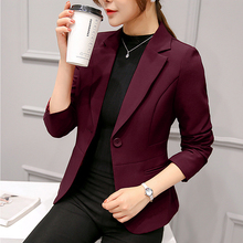 цена на 2019 Women's Blazer Pink Long Sleeve Blazers Solid One Button Coat Slim Office Lady Jacket Female Tops Suit Blazer Femme Jackets