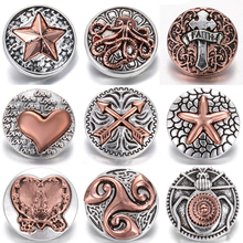 6pcs/lot New Snap Jewelry 18mm Rhinestone Cross Button Fit DIY Bracelet Necklace for Women Men