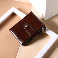 Men Wallet Oil Wax Cowhide Genuine Leather RFID Wallets Coin Purse Clutch Hasp Open Top Quality Retro Short Wallet 13.5cm
