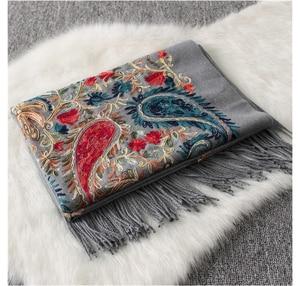 Image 3 - Luxury brand New women scarf high quality Embroider Flower winter cashmere scarves lady shawls wraps female pashmina echarpe