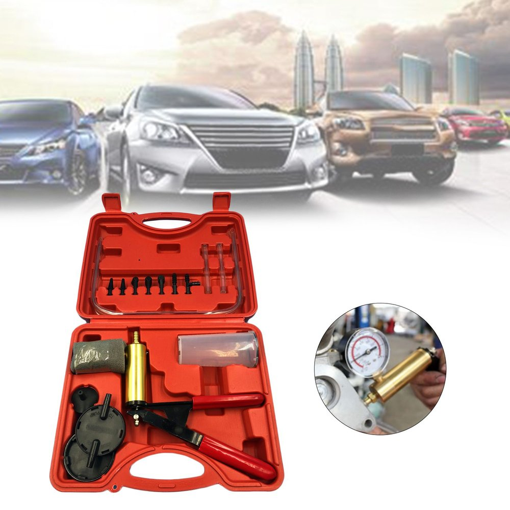 2 In 1 Auto Car Brake Fluid Bleeder Adapter Oil Change Hand Held Vacuum Pistol Pump Tester Kit DIY For All Vehicles