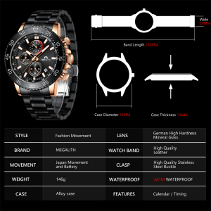 Image 4 - MEGALITH Business Watch Men Luxury Brand Stainless Steel Quartz Wrist Watch Chronograph Army Military Watches Relogio Masculino