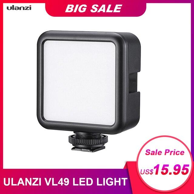 Ulanzi miniluz LED para vídeo VL49, 6W, batería integrada de 2000mAh, iluminación fotográfica de 5500K para cámara DSLR Canon, Nikon, Sony