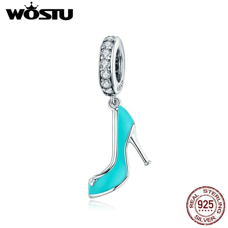WOSTU Stiletto Glass Shoes Charms 925 Sterling Silver CZ Green Enamel Bead Fit Original Bracelet Pendant Women Jewelry CTC233