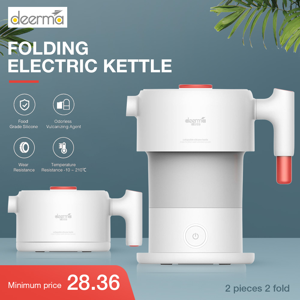 Xiaomi Deerma 0.6L Folding Portable Electric Water Kettle Handheld Electric Water Flask Pot Auto Power-Off Protection Kettle