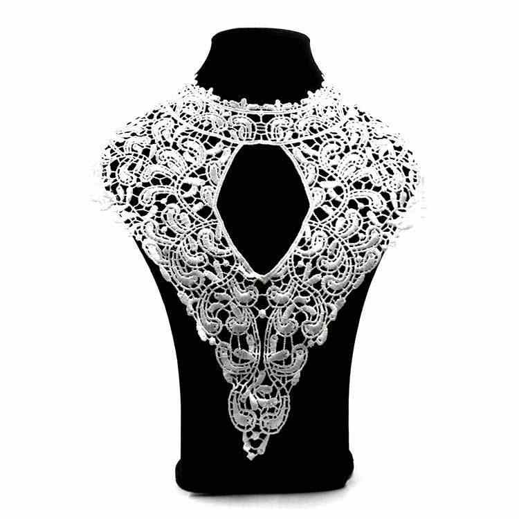 Elegant White Embroidery Lace Corsage Collar Neckline Trim Lace Decor Fabric Evening Dress Appliques DIY Sewing Embellishments