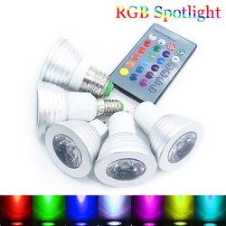 E27/E14/GU10/GU5.3/MR16 16 Цвет изменение Волшебная светодиодная лампочка мощностью 5 Вт 85-265V цветная (RGB) Светодиодная лампа Spotlight + ИК-пульт дистанционн...