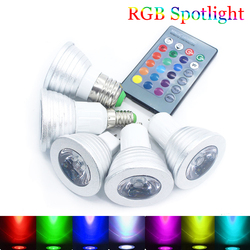 Самая низкая цена 5 Вт Светодиодный E27 E14 GU10 RGB светодиодный лампа 16 Цвет Светодиодный прожектор с IR дистанционный пульт светодиодный драйвер...