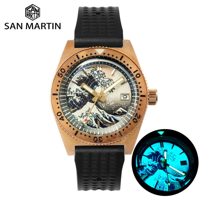 San Martin 62Mas Diver Full Luminous Surfing Dial Tin Bronze NH35 Automatic Mechanical Men Watch Sapphire Glass Calendar 20 Bar