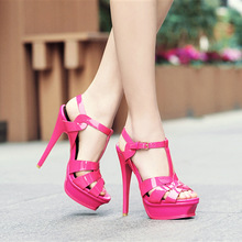 Fashion women's platform high heeled sandals Summer patent leather high heels shoes EU35-40 size BY727