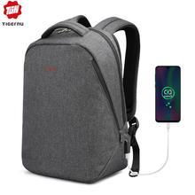 """Tigerنو العلامة التجارية الرجال على ظهره مكافحة سرقة USB تهمة 17 """"محمول على ظهره الذكور النساء حقيبة المدرسة حقيبة مدرسية عالية الجودة الرجال حقيبة"""