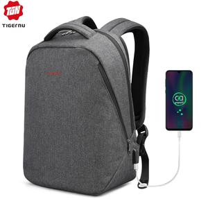 "Image 1 - Tigernu Brand Men Backpack Anti Theft USB Charge 17"" Laptop Backpack Male Women School Backpack School Bag High Quality Men Bag"