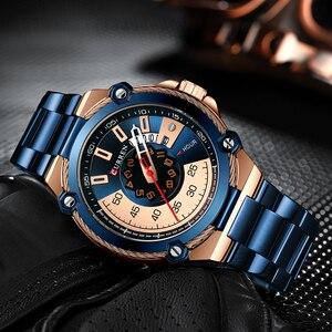 Image 2 - Часы CURREN Мужские кварцевые, дизайнерские модные деловые повседневные из нержавеющей стали с автоматической датой