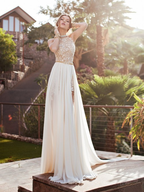 New Designer Lace Bodice High Jewel Neck Bridal Dress Sexy Fashion Court Train A Line Chiffon Wedding Dresses