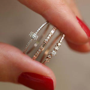 VKME  jewelry crystal ring set European and American inlaid rhinestone fashion pair ring female party gift