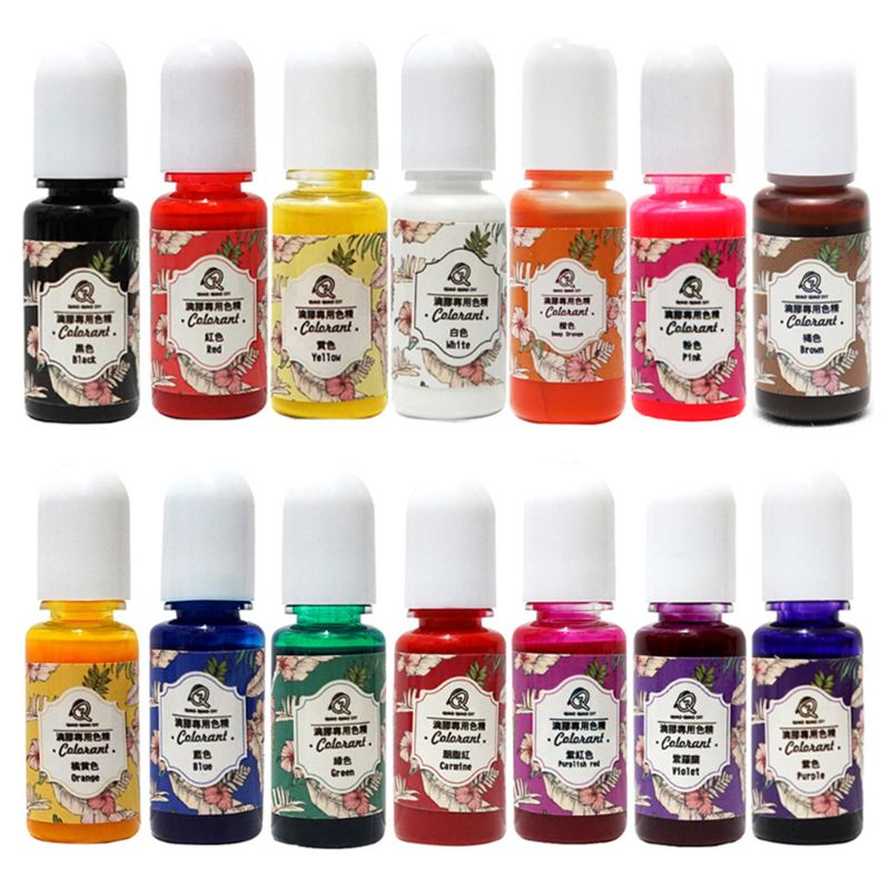 14 Pcs/set UV Resin Coloring Pigment DIY Crystal Epoxy High Transparency Oily Dye For Crafts Making Filling