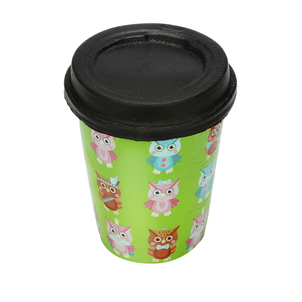 Owl Print Milk Tea Cup Squeeze Toy Adorable Cartoon Charm Slow Rising Squeeze Pressure Stress Reliever Children Gift Toy L0116