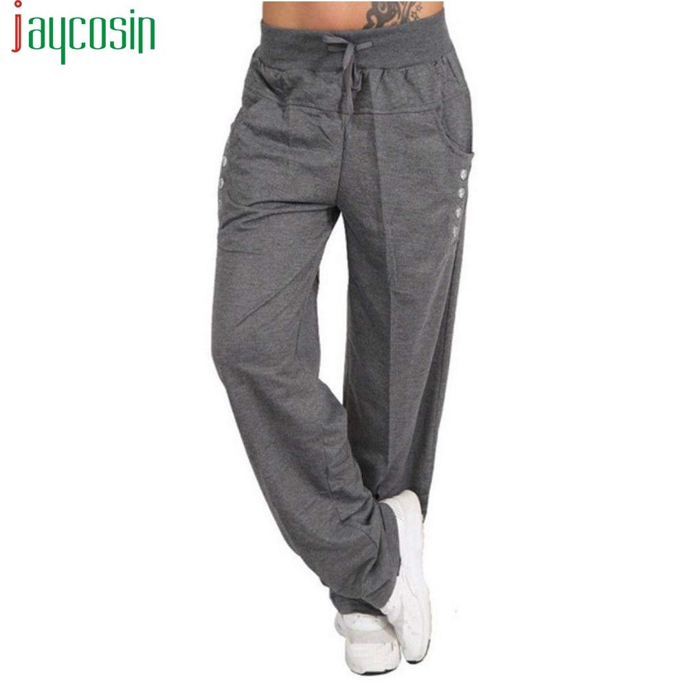 Women Loose Wide-leg Jogging Trousers High Waist Knit Plus Size Casual Strap Pocket Ladies Pants Running Fitness Harem Trousers