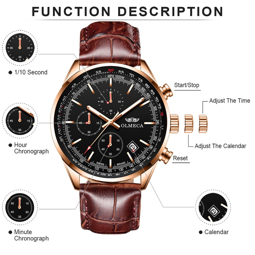 OLMECA Men Watch Sport Quartz Clock Waterproof  Wristwatches Genuine Leather Watch For Men Dress Top Luxury Brand Watch