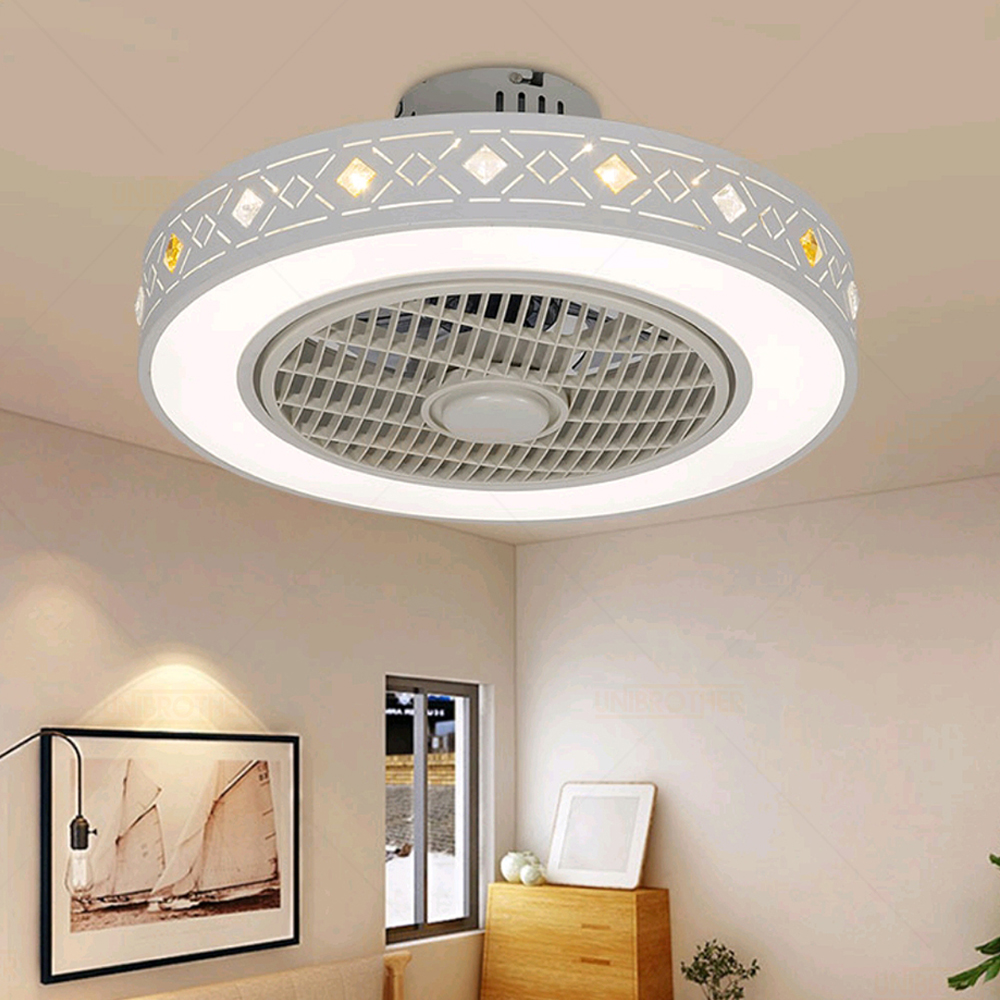 50-55cm Smart Ceiling Fan Control with Cell Phone Wi-Fi modern lighting circular Indoor home decora round ceiling fan with Light