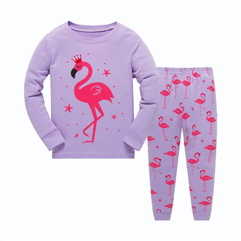 Crianças novas pijamas crianças algodão em torno do pescoço manga longa roupa de dormir meninas algodão dos desenhos animados flamingo pijamas conjuntos 2-7 anos