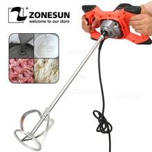 ZONESUN  Electric Cement Mixer Stirrer Adjustable 6-Speed Handheld Concrete Mixer for Mortars Paint Mud Grout