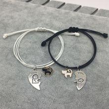 Pulseira para casal, nova pulseira para casal com pingente de coração, bracelete romântico para presente de dia dos namorados