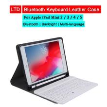 Bluetooth Toetsenbord Leather Case Voor Ipad Mini 1 2 3 4 5 7.9 Russisch Arabisch Hebreeuws Thai Koreaanse Spaans Duits franse Toetsenbord