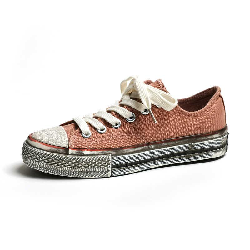 Kanvas ayakkabılar Kadınlar için Kadın rahat ayakkabılar Vintage Kirli Tarzı 2019 Moda Trendleri Kızlar sarı Ayakkabılar zapatillas mujer K3-27