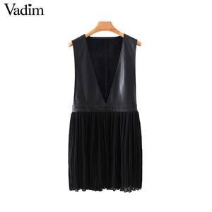 Image 1 - Vadim mulheres couro do plutônio chiffon mini vestido plissado sem mangas feminino casual vestidos pretos chique com decote em v vestidos elegantes qc815