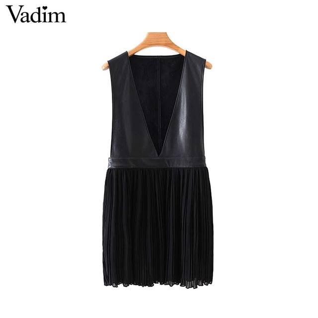 Vadim mulheres couro do plutônio chiffon mini vestido plissado sem mangas feminino casual vestidos pretos chique com decote em v vestidos elegantes qc815