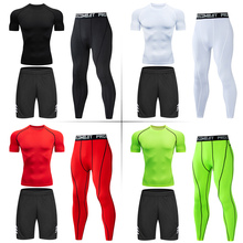 Men's Running Set Gym Long Sleeve T-shirt Pants Rashguard Tight Sport Set Men Compression Shirts Fitness Bodybuilding Clothing yd new compression tight basket soccer tracksuit men training fitness long sleeve shirt pants male gym running set sport suit