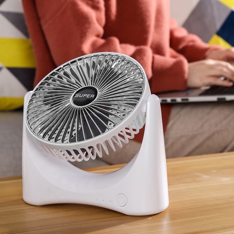 Small Table Fan With Strong Airflow Quiet Operation Portable Fan Speed Adjustable Head 360 Rotatable Mini Fan For Home Office
