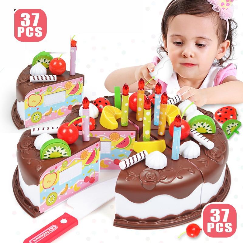 Kid DIY Birthday Cake Toy 37 Pcs/Set Plastic Chocolate Cutting Fruit Food Pretend Play Toys Set Safe Cute Children Girl Toy Gift