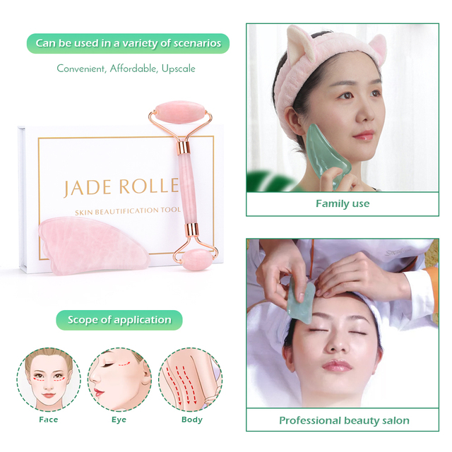Rose Quartz Roller Slimming Face Massager Lifting Tool Natural Jade Facial Massage Roller Stone Skin Massage Beauty Care Set Box 3