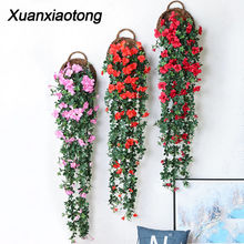 Xuanxiaotong 140cm/180cm Red Rose Flower Vine Wall Hanging Artificial Rattan for Home Wedding Background Decoration