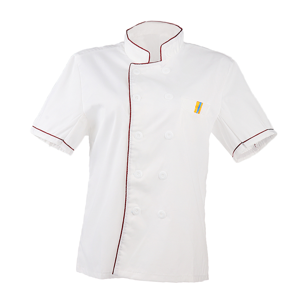 2pcs Men Women Chef Uniform Single Breasted Cook Short Sleeve Coat M Red