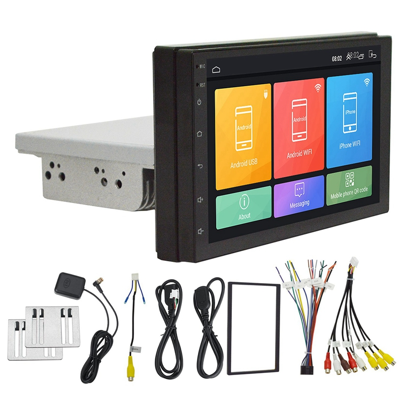 1 Din 7 Inch Contact Adjustable 1G+16G Car MP5 Player GPS DVR Support WIFI BT DAB